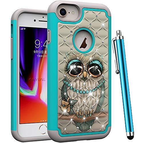 CAIYUNL Schutzhülle für iPhone 8 Plus, iPhone 7 Plus, iPhone 6S Plus, Hülle mit Strasssteinbesatz, zweilagig, strapazierfähig, stoßfest, Defender Cheap mophie Best Durable Colors Guy, Grey Cute Owl