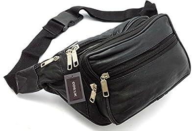Ods:uk® Real Leather Bum Waist Bag Travel Holiday Money Belt Pouch Black Change Bumbag