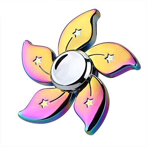 Elios V2A Premium Metallic Flower Ultra Durable Stainless Steel Bearing High Speed Fidget Hand Spinner Toy(Rainbow Color)