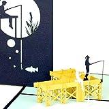Biglietto di auguri Pop Up 'Pescatore – Gita di pesca' – Biglietto 3D motivo pesca, biglietto di compleanno, per la pensione, buono regalo, motivo: pescatore al mare