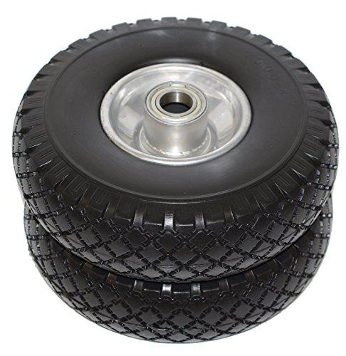 2x Sackkarrenrad Sackkarrenräder Ersatzrad Rad Reifen pannensicher schwarz für Sackkarre Bollerwagen PU Vollgummi 20mm Kugellager