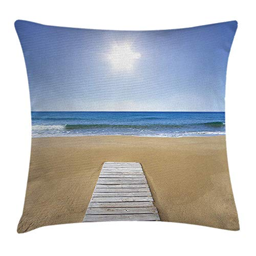 Trsdshorts Landscape Throw Pillow Cushion Cover, Wooden Deck on Sandy Beach with Sky Landscape and The Sun Wave Sea Print, Decorative Square Accent Pillow Case, 18 X 18 inches, Cream and Blue -