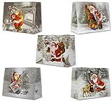 10 Geschenktüten Weihnachten Kinder Weihnachtsmann Geschenke Winter Schnee Medium Quer M 18 x 23 x 10 cm Weihnachtstüten Geschenktaschen Papier-Tragetaschen 22-8868