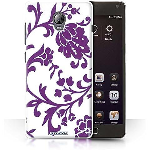 STUFF4 teléfono/cubierta/piel/Caso LNVVP1/Floral sello de recogida moradocon flores