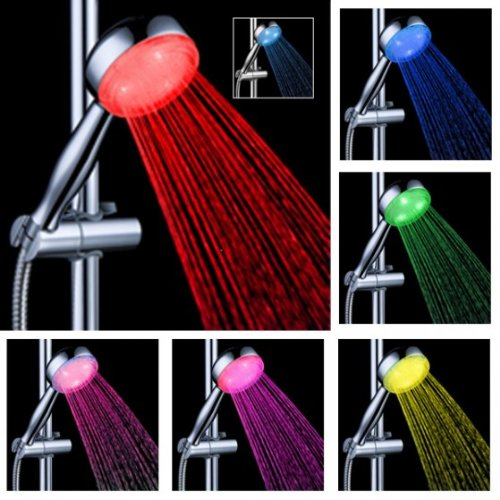 sypure (TM) LED chuveiro Shower Head Sprinkler Adjustable Ducha Rainfall Norina Heads Basis Power Douche Temperature Sensor 7Colors