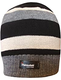 Boy's Black Thinsulate Stripy Thermal Winter Beanie Hat with Fleece Lining