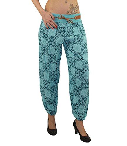 Bequeme Damen Sommerhose Haremshose mit elastischem Bund und Gürtel Pluderhose Strandhose Pumphose Aladinhose Yogahose Hose DK021 (Türkis)