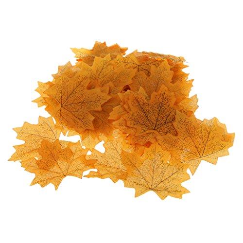 100x Künstliche Ahornblatt Herbst Blätter Kunstblumen Hochzeit Garten Dekoration – Gelb