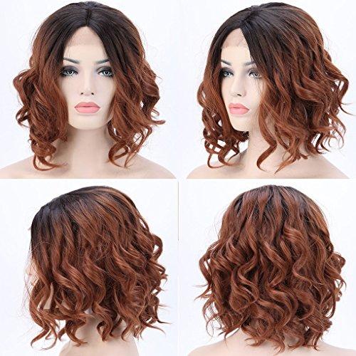 Peluca de encaje frontal de estilo bob corto, resistente al calor, sintética, ondas naturales para mujer, color degradado marrón negro café