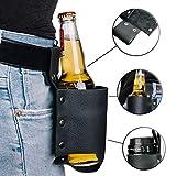 MOKEY Bierhalter Leder | Universal Flaschenholster Gürtel/Tasche in schwarz | schnell griffbereit an der Hose