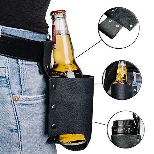 MOKEY Bierhalter Leder   Universal Flaschenholster Gürtel/Tasche in schwarz   schnell griffbereit an der Hose -
