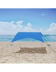 Mencom Tienda de Campaña, Anti UV SPF50 Outwell Tienda de Campañar con Sacos de Arena Ancla, Gran Sombrilla de Playa para Niños y Familias en la Playa, Parques, Campamentos y Exteriores