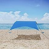 MENCOM Tenda da Spiaggia, Anti UV Tenda da Sole SPF50 con Ancoraggio Sacchetti di Sabbia, Ombrellone da Spiaggia Grande per Bambini e Famiglia in Spiaggia, Parchi, Camping e Outdoor