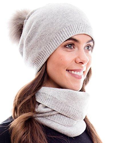 Hilltop Winter Kombi Set aus Schal und passender Strickmütze. (Beanie mit abnehmbarem Pompon) Qualität in 100% Baumwolle, Winter Set:Grau (Damen Und Strickmütze Set Schal)