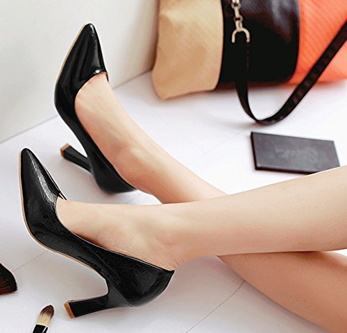 Aisun Damen Sexy Lackleder Pointed Toe Asakuchi Stiletto Pumps Schwarz