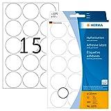 HERMA 2270 Vielzweck-Etiketten / Farbpunkte rund (Ø 32 mm, 32 Blatt, Papier, matt) selbstklebend, permanent haftende Markierungspunkte zur Handbeschriftung, 480 Klebepunkte, weiß