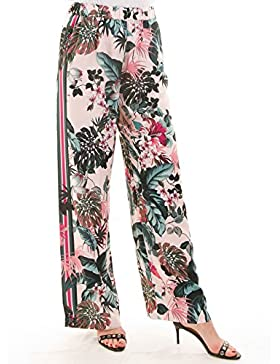 Guess pantalones palazzo flores rosa Ernestine