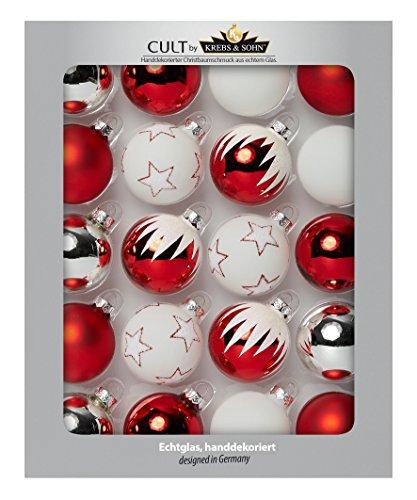 HEITMANN DECO 74581 Boules en Verre décoré, uni//Brillance, Verre, Rouge/Blanc/Argent, 7 x 27 x 33,5 cm
