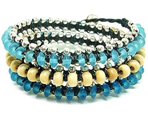 LUN NA Asian Handmade Wrap Bracelet Bohemian Fashion Azure Glass Beads White Wood beads Wax String