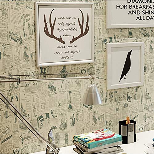 Selbstklebende Tapete Student Schlafsaal Selbstklebende Tapete Wohnzimmer Schlafzimmer Selbstklebende Tapete Link, 45 cm * 100 cm, Retro Zeitung, Einheitsgröße ()
