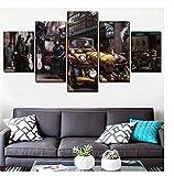 GLORIOUS.YY Handgemaltes Bild Science-Fiction-Steampunk-Auto Wandbild Vlies Leinwand Bild Wandbilder Wohnzimmer Deko Kunstdrucke 5 Teilig - Fertig Zum Aufhängen 150x80Cm(A)