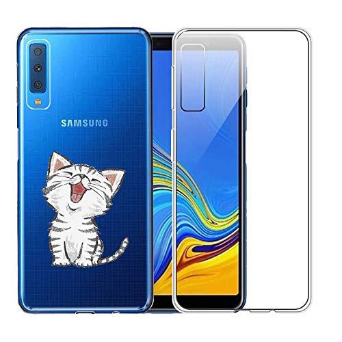 2X Custodia Per Samsung Galaxy A7 2018 Cover Silicone con Disegni Originale Caso gel Gomma TPU Morbido Antiurto Protettiva Shell Bumper Case Per Samsung Galaxy A7 2018 (Gatto carino + Trasparente)