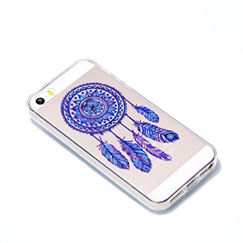 Coque Pour iPhone 5S/SE, HLZDH mignon Premium Gel TPU Souple Silicone Transparent Clair Bumper Protection Housse Arrière Étui Pour iPhone 5S/SE + Stylus image-1