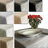 JEMIDI Tischdecke Ornamente Seidenglanz Edel Tisch Decke Tafeldecke 31 Größen und 7 Farben Creme Oval 130x220 - 2