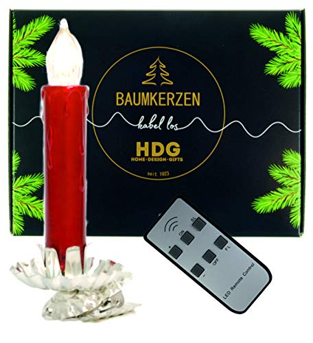 Baumkerzen kabellos - 8er Set LED Kerzen mit Clip Silber, Kerzenhalter im Set:Kerzenhalter mit Baumkerzen in rot