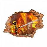 nikima - 054 Wandtattoo Feuerwehrmann - Loch in der Wand Feuerwehr löscht Haus Feuer - in 6 Größen - Coole Kinderzimmer Sticker und Aufkleber Wanddeko Wandbild Junge Mädchen Größe 1000 x 700 mm