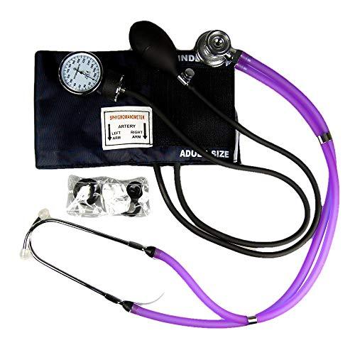 Valuemed Sprague Rappaport Stethoskop Blutdruckmessgerät + Violett BUNDLE Medical Profi Aneroid Blutdruckmessgerät Pro CE NHS Unit + Stethoskop Box -