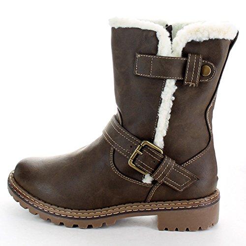 Cotswold Ladies Nardo Fur Trim Winter Snow Boots Black Dark Brown