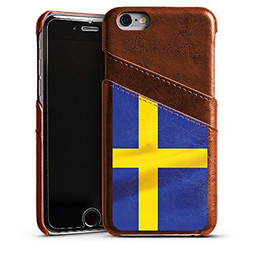 Apple iPhone 5s Housse Étui Protection Coque Suède Suède Drapeau Étui en cuir marron