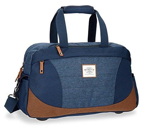 Pepe Jeans Quilted Bolsa De Viaje, 51 cm, 33.66 Litros, Azul