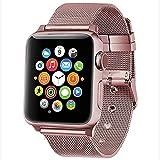 Para Iwatch/Apple Watch,Correa De Reloj De Apple Correa De Acero Inoxidable Mujer/Hombres Pulsera Deportiva De Reemplazo Con Cierre Para Serie De Apple 4/3/2/1,40mm/44mm/38mm/42mm,rosegold,44mm