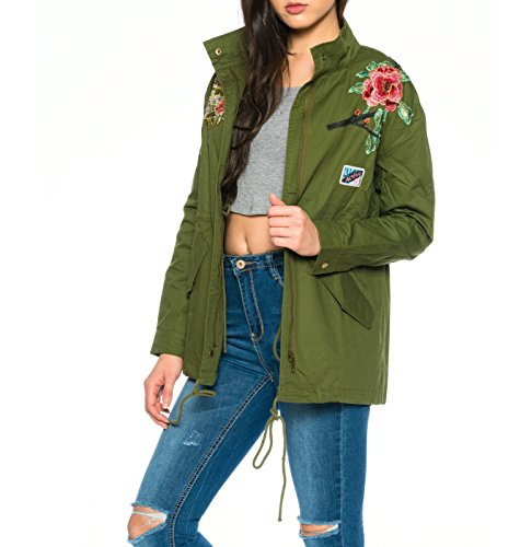 Dress Sheek Damen Parka Jacke mit Rose Patches Stickerei Reißverschluss Vintage Bikerjacke Kurz Jacken Mantel Armee grün - 2