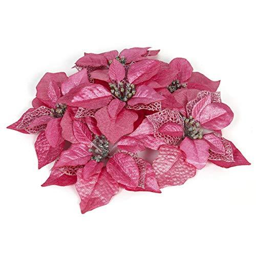 Funhoo 12 pezzi fiori artificiali glitter per matrimonio con albero di natale decorazioni per alberi di natale festivi (22 cm) (rosa)