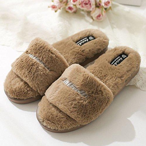 DogHaccd pantofole,Autunno Inverno piscina soggiorno home il cotone pantofole, scanalato e il filtro bow tie un grazioso peluche scarpe caldo E COLORE2