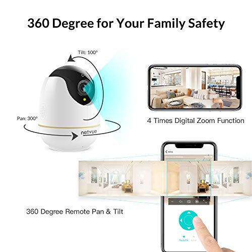 IP Camera, Netvue Wireless Home Security Cam Compatible with Alexa Echo Show,360 Degree Security WiFi Camera with Pan/Tilt/Zoom,Two-Way Audio,Night Vision,Remote Motion Detect Baby/Elder/Pet Monitor