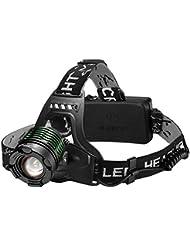 Linterna Frontal LED Cabeza con Batería 3000Lum 4 Modo de Luz hasta 300Mt y hasta 6 Horas Usar de TopElek, Linterna Cabeza Alta Potencia para Camping, Pesca, Luz de Emergencia, Exterior e Interior