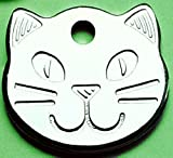 """22mm (0.85"""") Polished Chrome Cat Face ID Tag - FREE ENGRAVING"""