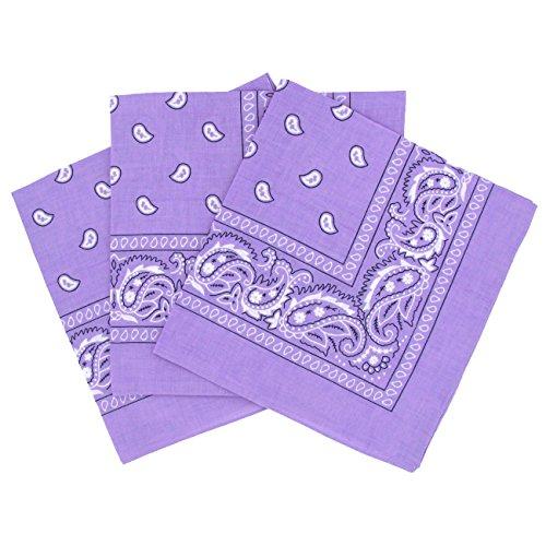 Set 3 bandanas paisley damen und herren lila