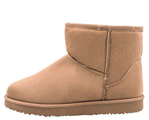 Elara Damen Boots | Bequeme Winter Stiefeletten | Warm Gefüttert Profilsohle Wildlederoptik Khaki