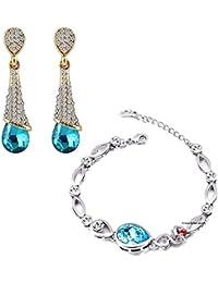 Mahi Combo Of Aquamarine Blue Bracelet And Drop Earrings With Crystal Stones CO1104684M
