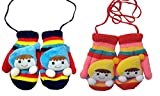 MISS U BABY GIRLS AND BOYS INFANT HIGH QUALITY WOOLEN SET OF 2 MITTENS (BLUE RED)