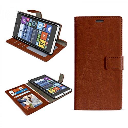eFabrik Schutz Tasche für Nokia Lumia 730 und Lumia 735 Hülle Handy Zubehör Bookstyle Case Aufsteller Innenfächer Wallet Kunstleder braun