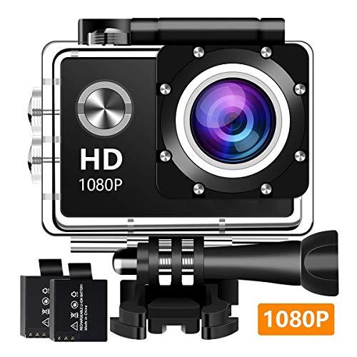 """Action Cam Wifi 1080P 16MP Full HD Action Kamera BUIEJDOG Action Camera Ultra Full HD 2"""" LCD 170 ° Weitwinkel 30 Meter Wasserdicht Unterwasserkamera mit 2 Akkus und Zubehör Kits"""