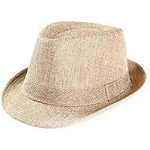 Gorra de Playa Unisex de Trilby Gangster, Sombrero de Paja para el Sol al Aire Libre, Beige, Medium