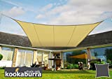 Kookaburra Water Resistant Sun Sail Shade Canopy 3.6m Square in Sand