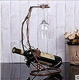 MEICHEN Weinregal europäischen Retro-Rotglas-Rotglas-Rantabengal auf den Kopf gestellt kreative Mode legte Rotweinregal Eisenornamente,Brass